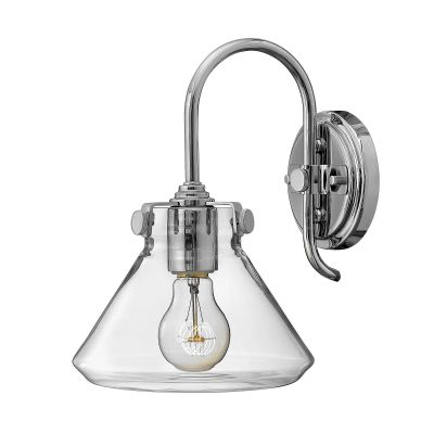 Congress Wall Light in Polished Chrome with a Clear Glass Shade - HINKLEY HK/CONGRES1/A CM